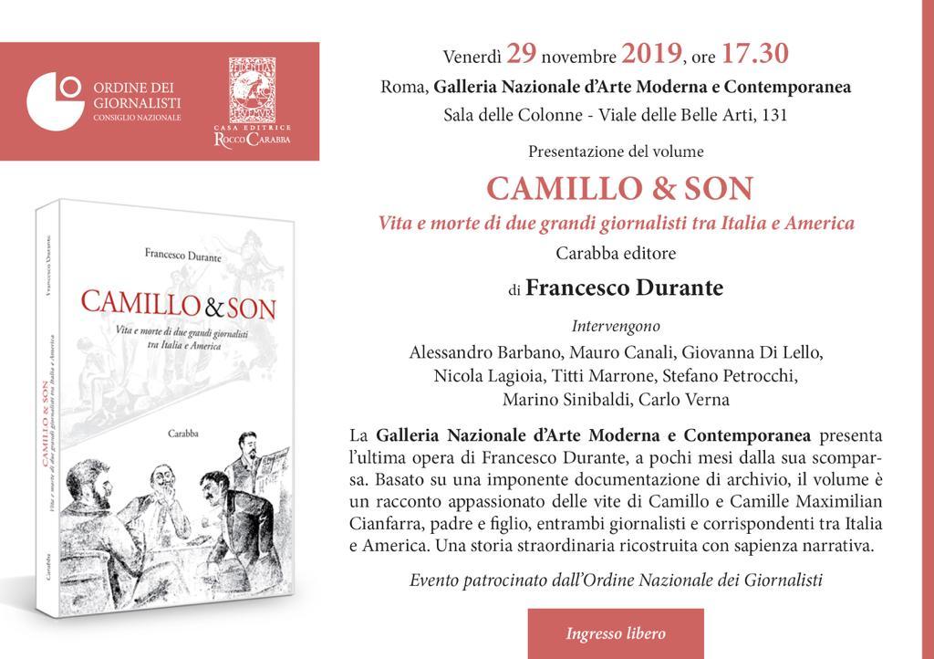 Presentazione del volume postumo di Francesco Durante Camillo & Son. Vita e morte di due grandi giornalisti tra Italia e America