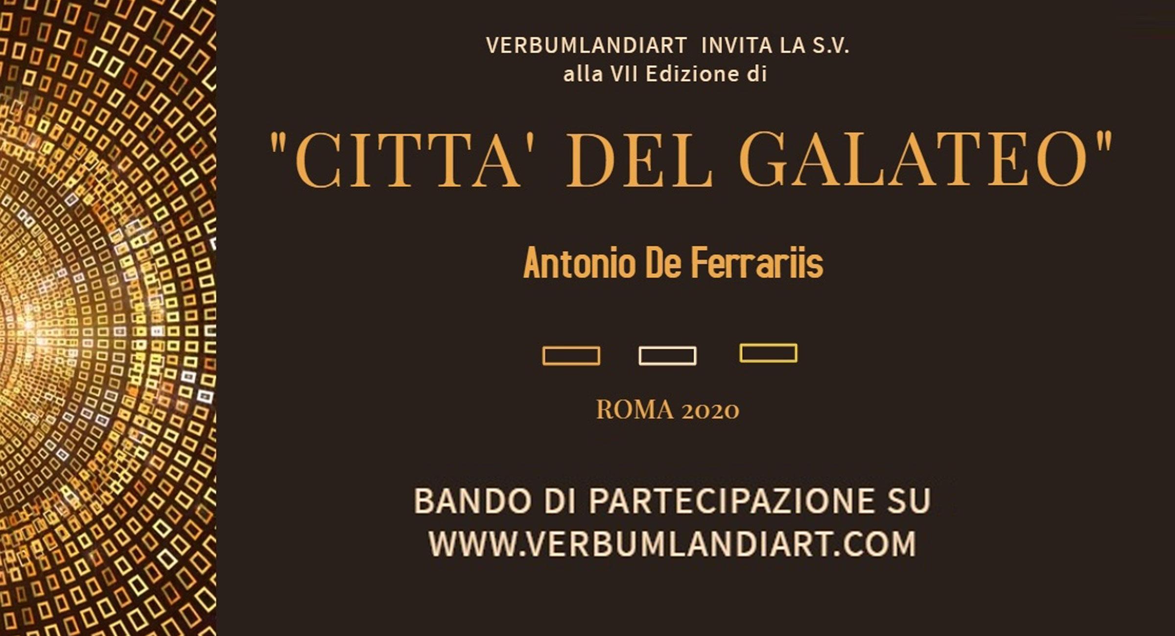 """PREMIO """"CITTA' DEL GALATEO -ANTONIO DE FERRARIIS"""" ROMA 2020"""