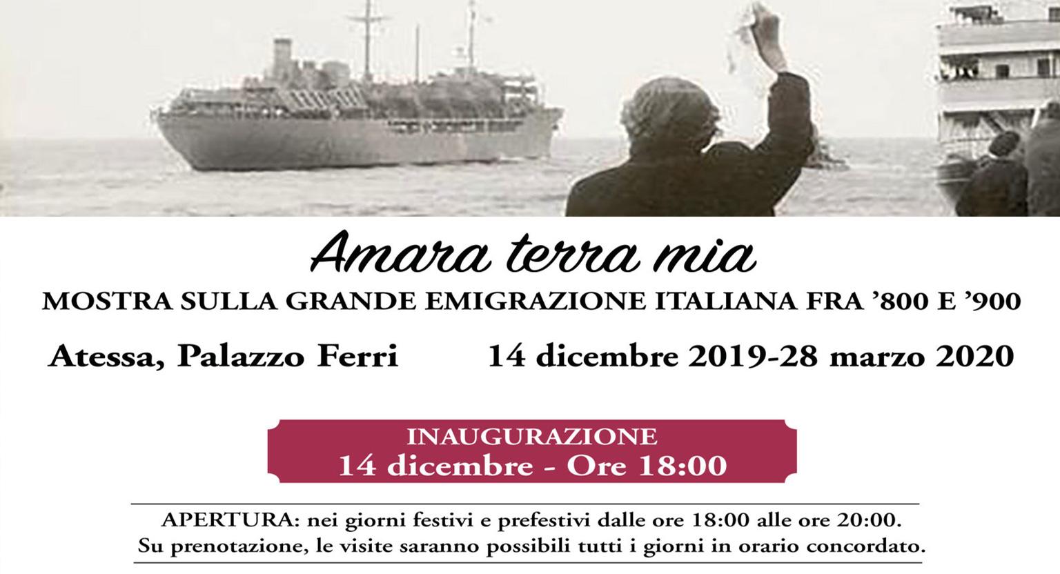 """""""Amara terra mia"""", mostra sulla grande emigrazione italiana fra 800 e 900"""